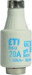 Wkładka bezpiecznikowa DII/E27, wykonanie superszybkie gR 20A 500VAC