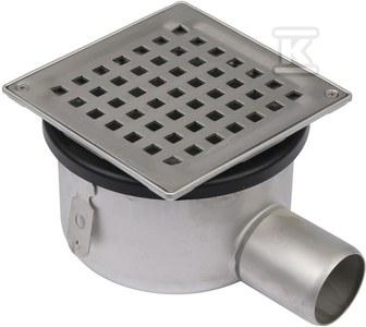 Regulowany korpus wpustu łazienkowego z rusztem (do dokupienia syfon 502.050.110 i opcjonalnie filtr 502.000.000 S), odpływ poziomy, ruszt kwadratowy, niski model Ø 50 MM