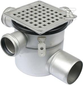 Regulowany korpus wpustu łazienkowego z rusztem (do dokupienia syfon 502.050.110 i opcjonalnie filtr 502.000.000 S) ruszt kwadratowy 145 x 145 odpływ poziomyy Ø75 MM, 3 boczne dopływy fi 50