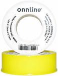 Taśma teflonowa 12m x 12mm x 0,1mm GAZ, WODA Onnline (żółta)