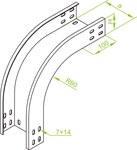 Łuk zewnętrzny 90° LZZP500H50, grubość - 351450