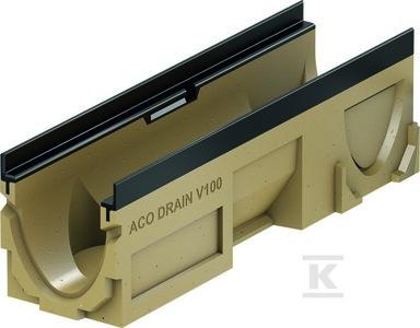 ACO DRAIN Multiline V 100 Korytko z polimerbetonu V 100 20.1 , z bocznymi wyżłobieniami do podłączeń kątowych, , z wyżłobienien w dnie do wybicia, Krawędzie z żeliwa
