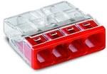 Złączka COMPACT do puszek instalacyjnych do przewodów jednodrutowych maksymalnie 2,5 mm² 4-przewodowe kolor obudowy przezroczysty kolor pokrywy czerwony temperatura otoczenia maksymalnie 60 °C (T60) 2,50 mm² transparentny