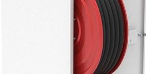 Hydrant na wąż półsztywny fi 25 długość 30 mb, wnękowy (podtynkowy),z miejscem na gaśnicę pod zwijadłem, zasilanie górne przednie, drzwi prawe 1040X260X700mm, kolor biały RAL9010