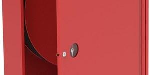 Hydrant wewnętrzny na wąż półsztywny fi 25 długość 30 mb, zawieszany (natynkowy),101x78x18 uniwersalny, zasilanie obustronne,czerwony, zamek: patentowy, drzwi pełne