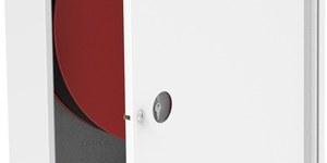 Hydrant wewnętrzny na wąż półsztywny fi 25 długość 30 mb, zawieszany (natynkowy),101x78x18 uniwersalny, z miejscem na gaśnicę pod zwijadłem, zasilanie obustronne, biały, zamek patentowy, drzwi pełne