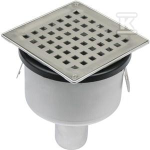 Regulowany korpus wpustu łazienkowego z rusztem kwadratowym 140x 140 (do dokupienia syfon 502.050.110 i opcjonalnie filtr 502.000.000 S) odpływ pionowy Ø50 MM