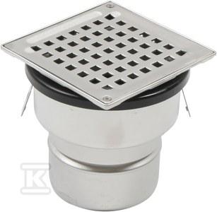 Regulowany korpus wpustu łazienkowego z rusztem kwadratowym 140x 140 (do dokupienia syfon 502.050.110 i opcjonalnie filtr 502.000.000 S) odpływ pionowy Ø110 MM