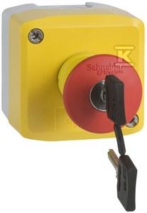 Stacja sterująca z czerwonym przyciskiem grzybkowym Fi40 żółta 1NO+2NC na klucz
