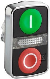 Przycisk podwójny płaski/płaski zielony/czerwony samopowrotny LED metalowy I/O