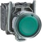 Przycisk płaski zielony żarówka 250V bezpośrednie metalowy