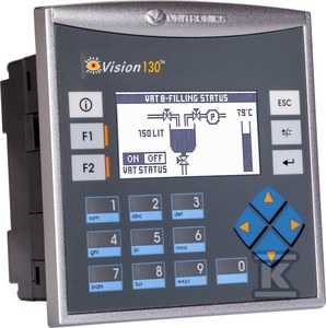 "Sterownik PLC z panelem HMI 2,4"" OPLC: 20 DI, 2 I D/A, 8 RO"