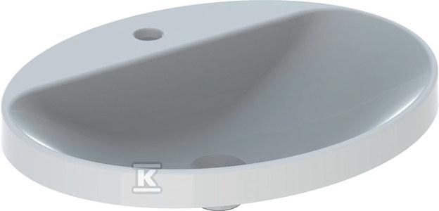 Umywalka VariForm wpuszczana w blat, owalna, 60 cm, z otworem na baterię, bez przelewu