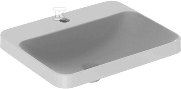 Umywalka VariForm wpuszczana w blat, prostokątna, 55 cm, z otworem na baterię, bez przelewu