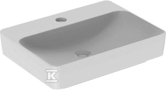 Umywalka VariForm stawiana na blat, prostokątna, 60 cm, z otworem na baterię, bez przelewu
