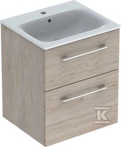 NOVA PRO PREMIUM Zestaw umywalka z niskim rantem 55 cm + szafka 2 szuflady, kolor orzech włoski jasny