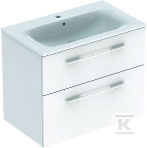 NOVA PRO PREMIUM Zestaw umywalka z niskim rantem 80 cm + szafka 2 szuflady, kolor biały połysk