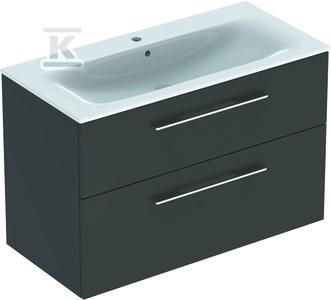 NOVA PRO PREMIUM Zestaw umywalka z niskim rantem 100 cm + szafka 2 szuflady, kolor lava mat