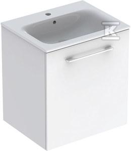 NOVA PRO PREMIUM Zestaw umywalka z niskim rantem 60 cm + szafka 1 drzwi, kolor biały połysk
