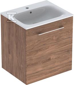 NOVA PRO PREMIUM Zestaw umywalka z niskim rantem 60 cm + szafka 1 drzwi, kolor orzech włoski