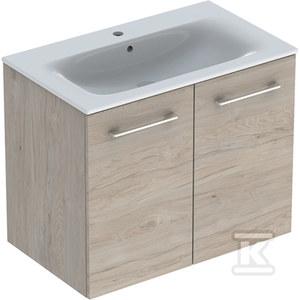NOVA PRO PREMIUM Zestaw umywalka z niskim rantem 80 cm + szafka 2 drzwi, kolor orzech włoski jasny