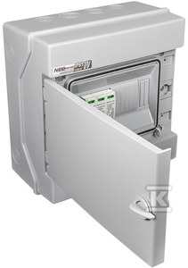 Rozdzielnica fotowoltaiczna z ogranicznikiem przepięć szara Ui 1500VDC RH-8 UV PVx1