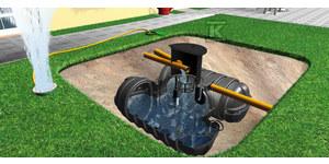 Pakiet (zbiornik podziemny+wyposażenie) na deszczówkę TWINBLOC GARTEN 7000L (2x3500L) z pompą zanurzeniową