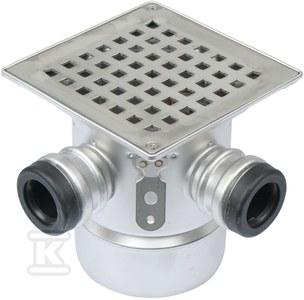 Regulowany korpus wpustu łazienkowego z rusztem (do dokupienia syfon 502.050.110 i opcjonalnie filtr 502.000.000 S), ruszt kwadratowy , odpływ pionowy Ø110 MM, z 2 boczne dopływy