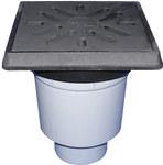 Wpust podwórzowy Perfekt DN160 z odejściem pionowym, ramą z żeliwa 260x260mm, kratką ściekową z żeliwa 226x226mm, klapą antyzapachową i koszem osadczym