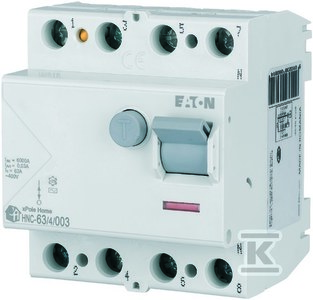 Wyłącznik różnicowoprądowy 6kA typ AC HNC-63/4/003