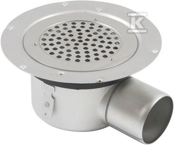 Regulowany korpus wpustu łazienkowego z rusztem okrągłym (do dokupienia syfon 502.050.110 i opcjonalnie filtr 502.000.000 S)MULTI, odpływ poziomy Ø75 MM, do podłóg winylowych