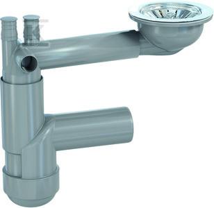 Syfon FLEXLOC PRO zlewozmywakowy, teleskopowy, pojedynczy, butelkowy, przyłącze do pralki i zmywarki, sitko w komplecie, podłączenie 40/50