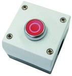 Napęd M22-D-R-X0/KC11/I przycisk płaski czerwony 1Z1R bez samopowrotu