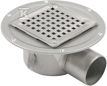 Regulowany korpus wpustu łazienkowego z rusztem kwadratowym (do dokupienia syfon 502.050.110 i opcjonalnie filtr 502.000.000 S) odpływ poziomy Ø75 MM, z kołnierzem do podłóg z izolacją