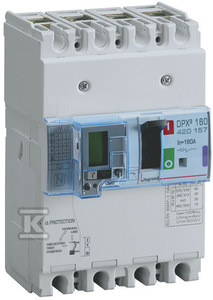 Wyłącznik mocy z wyzwalaczem termiczno-magnetycznym z wbudowanym zabezpieczeniem różnicowoprądowym DPX3 160+BL.R 4P 125A 36KA