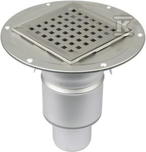 Korpus wpustu łazienkowego z rusztem kwadratowym (do dokupienia syfon 502.050.110 i opcjonalnie filtr 502.000.000 S) odpływ pionowy Ø75 MM