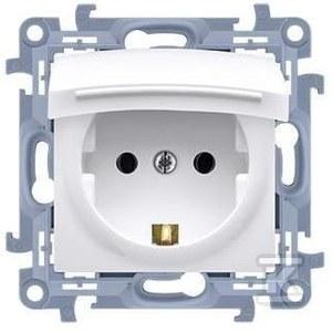 Gniazdo wtyczkowe Schuko do wersji IP44 z uszczelką - klapka transparetna (moduł) 16 A, 250 V~, zaciski śrubowe, biały Simon10