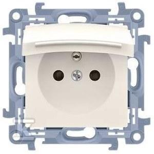Gniazdo wtyczkowe do wersji IP44 z uszczelką - klapka transparetna (moduł) 16 A, 250 V~, zaciski śrubowe, beż Simon10