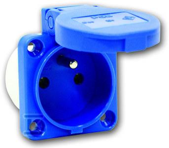 Gniazdo tablicowe jednofazowe P-Nova 16A 230V 2P+Z z bolcem, niebieskie, tylne wprowadzenie przewodu IP54