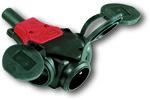Rozgałęźniki jednofazowy Taurus 10/16A 2 P+Z 230V z bolcem + zatyczka gumowy IP44