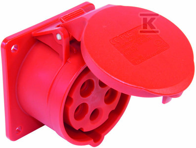 Gniazdo tablicowe proste 16A 400V 3P+Z+N 75x75mm IP44
