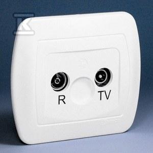 Gniazdo RTV przelotowe 23db AA23/11 Akord biały