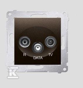 Gniazdo R-TV AC-DATA (moduł), brąz mat (met.)