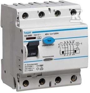 Wyłącznik różnicowoprądowy 63A,30mA,4 biegunowy, typ AC