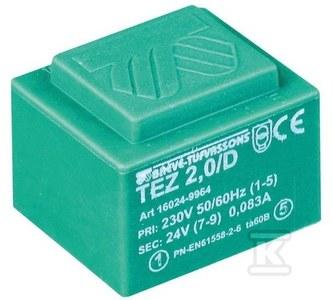 Transformator jednofazowy TEZ 2,0/D 230/ 7,5-7,5V do obwodów drukowany zalewany