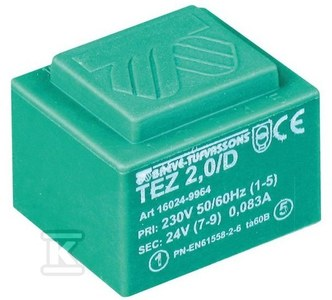 Transformator jednofazowy TEZ 10,0/D 230/ 9-9V do obwodów drukowany zalewany
