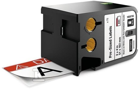 """DYMO XTL 70 sztuk wymiarowanych etykiet (51 mmx102 mm), czarny na białym /nagłówek czerwony z napisem """"DANGER"""""""