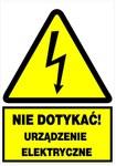 Tablica ostrzegawcza samoprzylepna TZO 52x74(Nie dotykać urządzenie elektryczne)