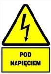 Tablica ostrzegawcza samoprzylepna 74x105 NO Pod napięciem