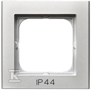 Ramka pojedyncza do łączników IP44, srebro mat SONATA